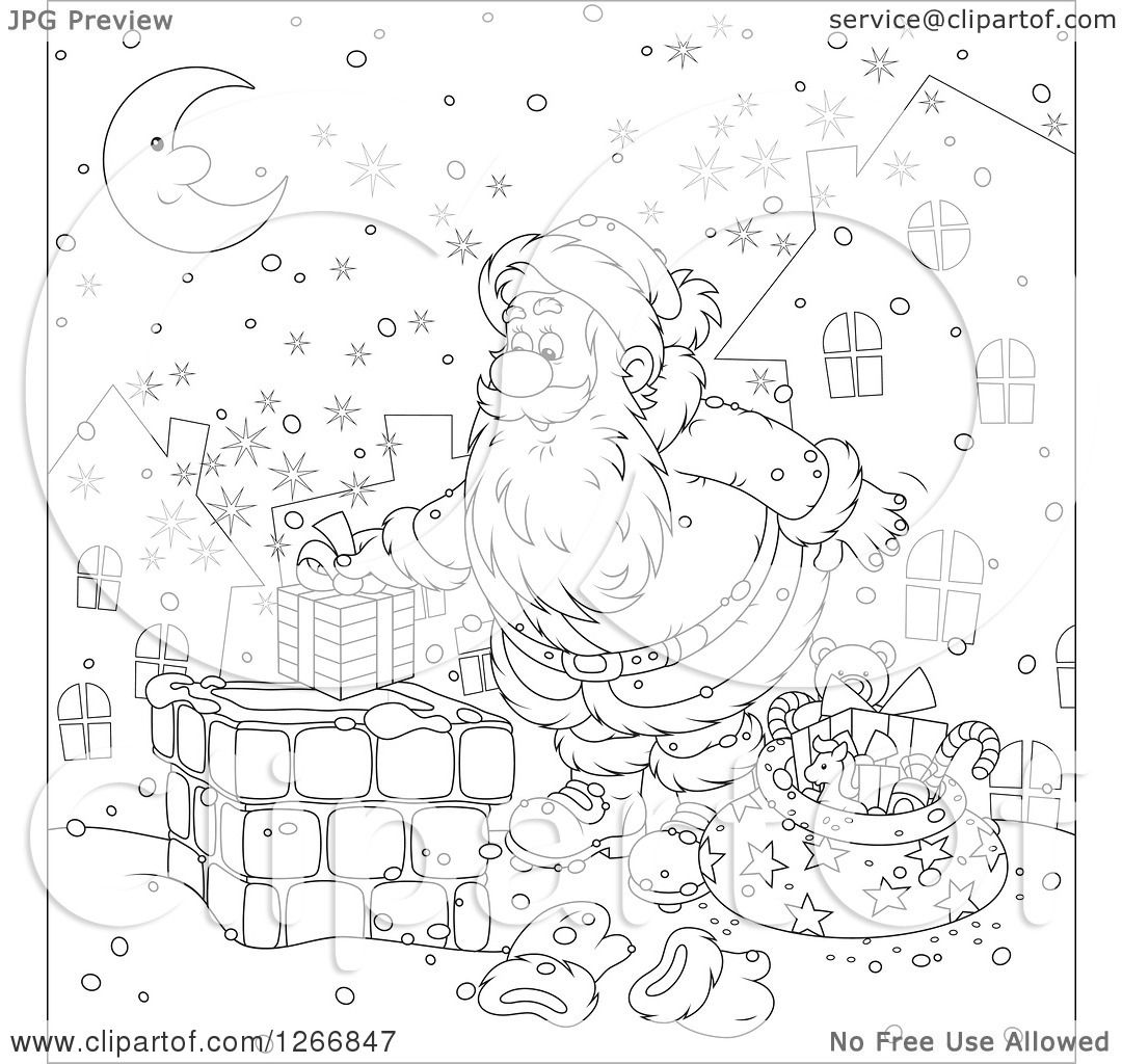 Clipart of Black and White Santa Claus Putting a Gift in a Chimney.