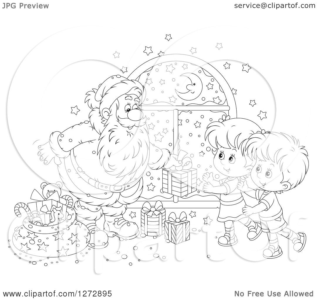 Clipart of a Black and White Santa Giving Gifts to Children on.