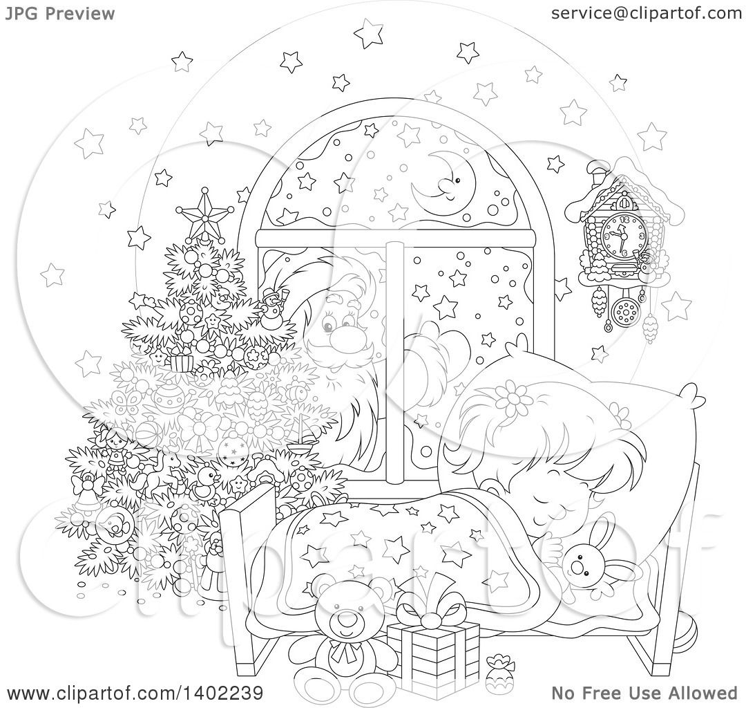 Clipart of a Black and White Lineart Santa Clause Outside of a.