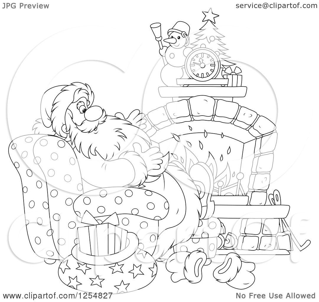 Cartoon of Black and White Santa Relaxing in Front of a Fireplace.