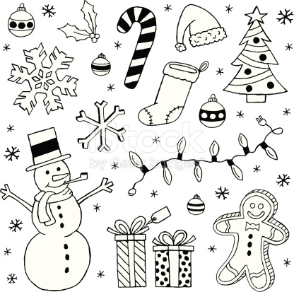 Black And White Christmas Clip Art Images stock vector art.