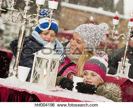 Stock Images of Austria, Salzburg, Mother with children at.