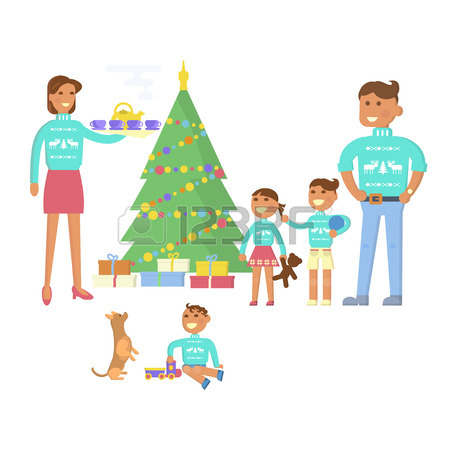 Happy Family Concept. Flat Design Christmas Eve, Mother, Father.