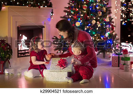 Christmas Eve Mother And Child Clipart.