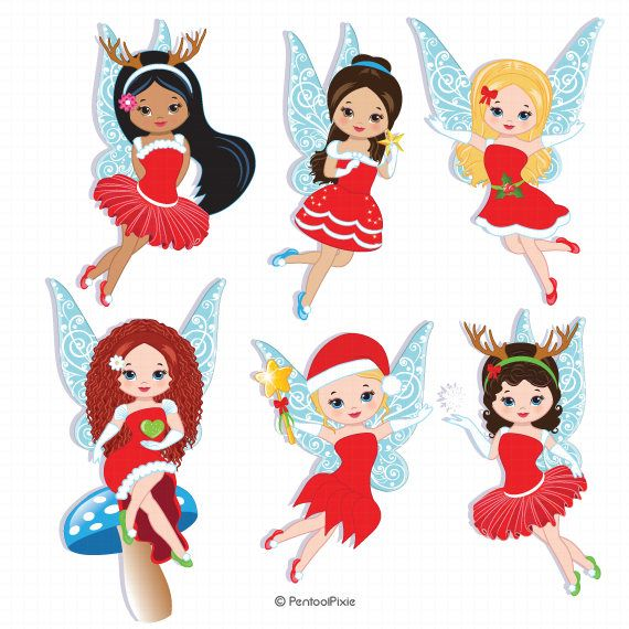 Christmas fairies clipart, Snow fairies, Winter fairies.