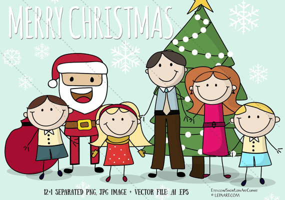 Christmas Family clipart Stick figure clip art Merry.