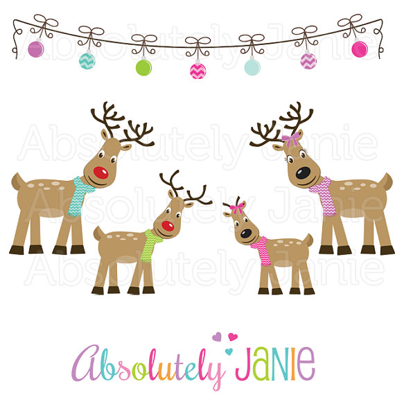 Items similar to Reindeer Family Clipart.