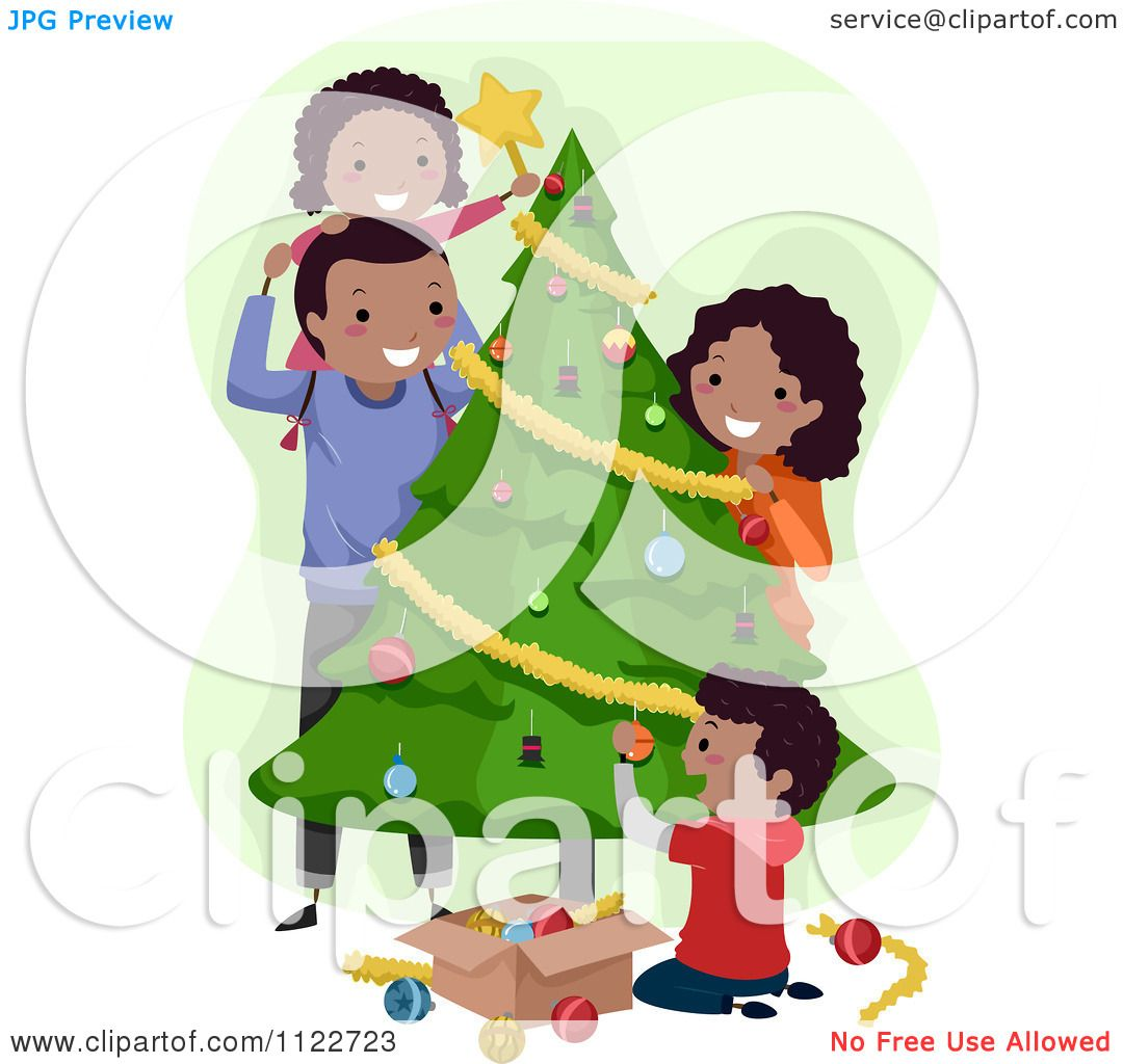 Cartoon Of A Happy Black Family Decorating A Christmas Tree.