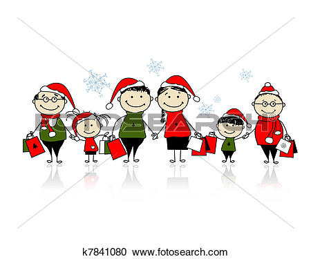 Clipart of Christmas shopping. Happy family together k7841080.