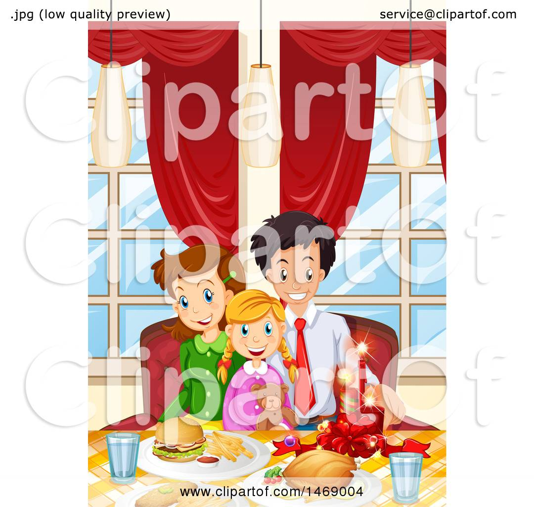 Clipart of a Happy Family Having a Christmas Feast.
