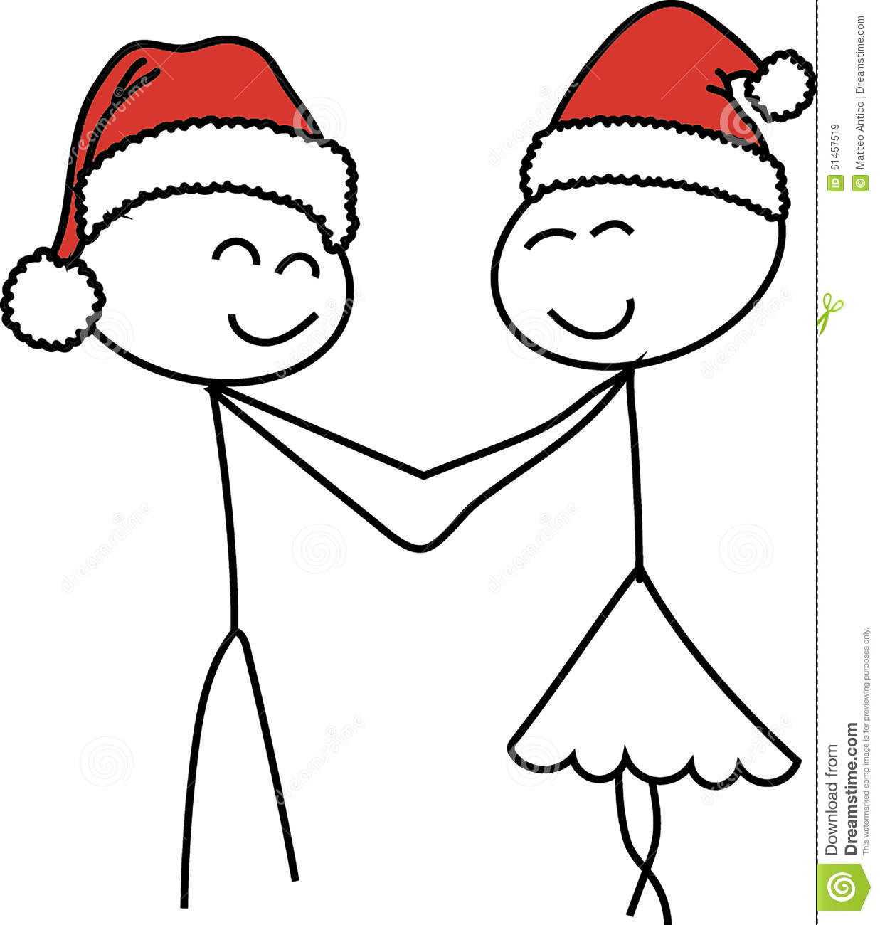 Stick Figure Love Christmas Stock Illustration.