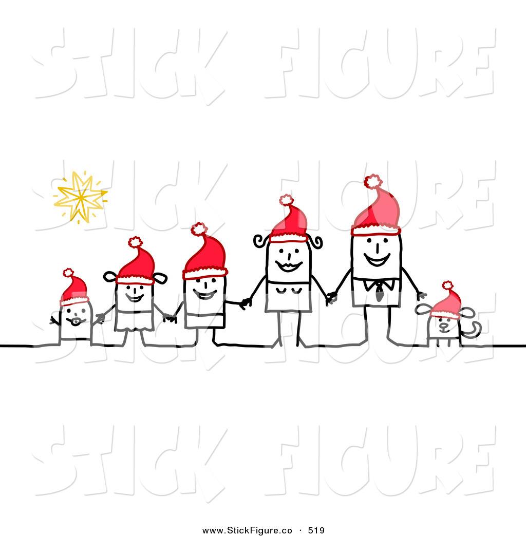 Christmas stick figures clip art.