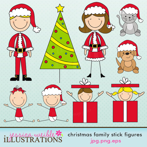 Christmas Stick Figures Clip Art.