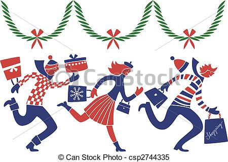 Clipart Vector of Christmas rush.