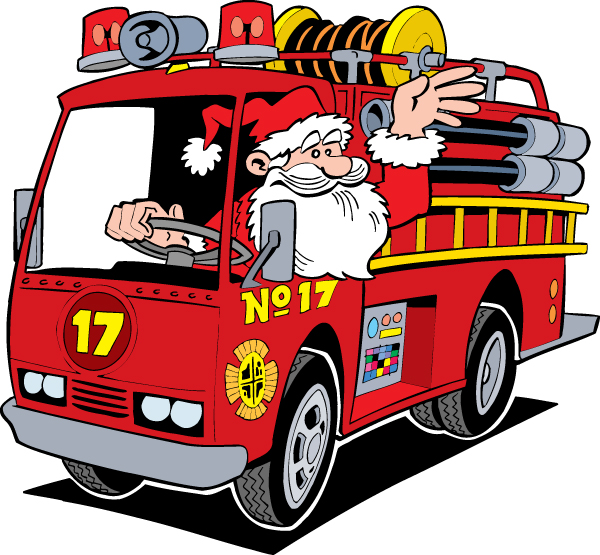 Christmas Fire Engine Clipart.