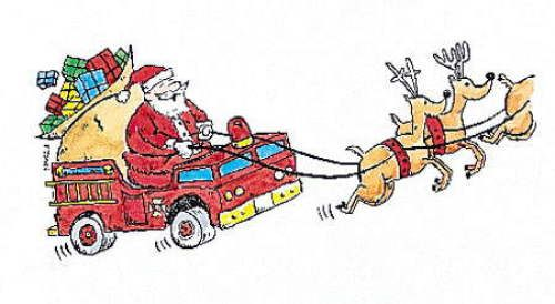 Santa Firefighter Christmas Cards~ Ho Ho Ho!.