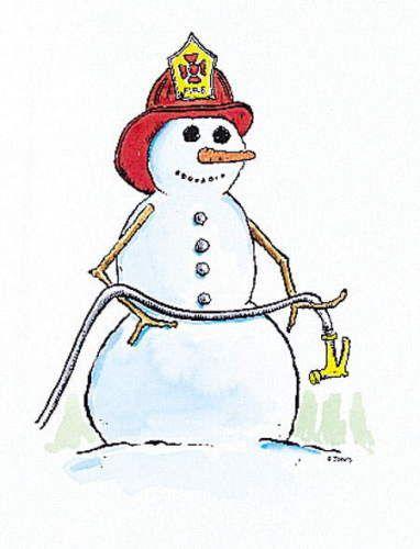 Firefighter Snowman Christmas Cards.