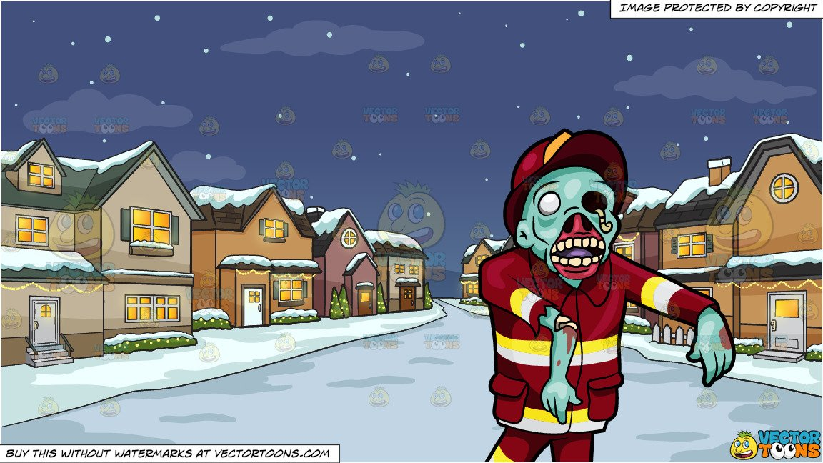 A Creepy Looking Fireman Zombie and Snowy Christmas Night Background.