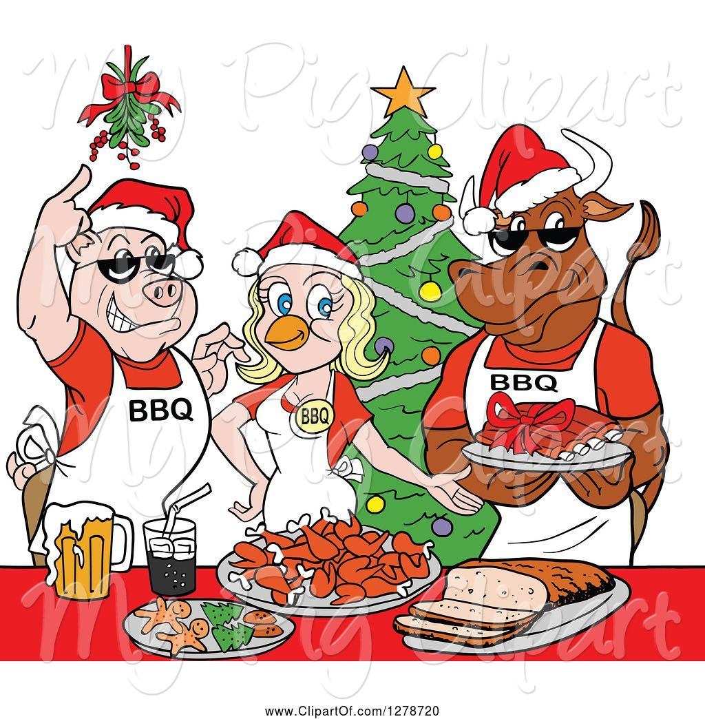 Swine Clipart of Cartoon Bbq Chef Cow Pig and Female Chicken with.