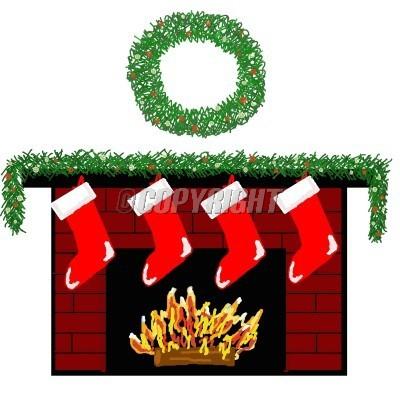 Cartoon Christmas Fireplace.