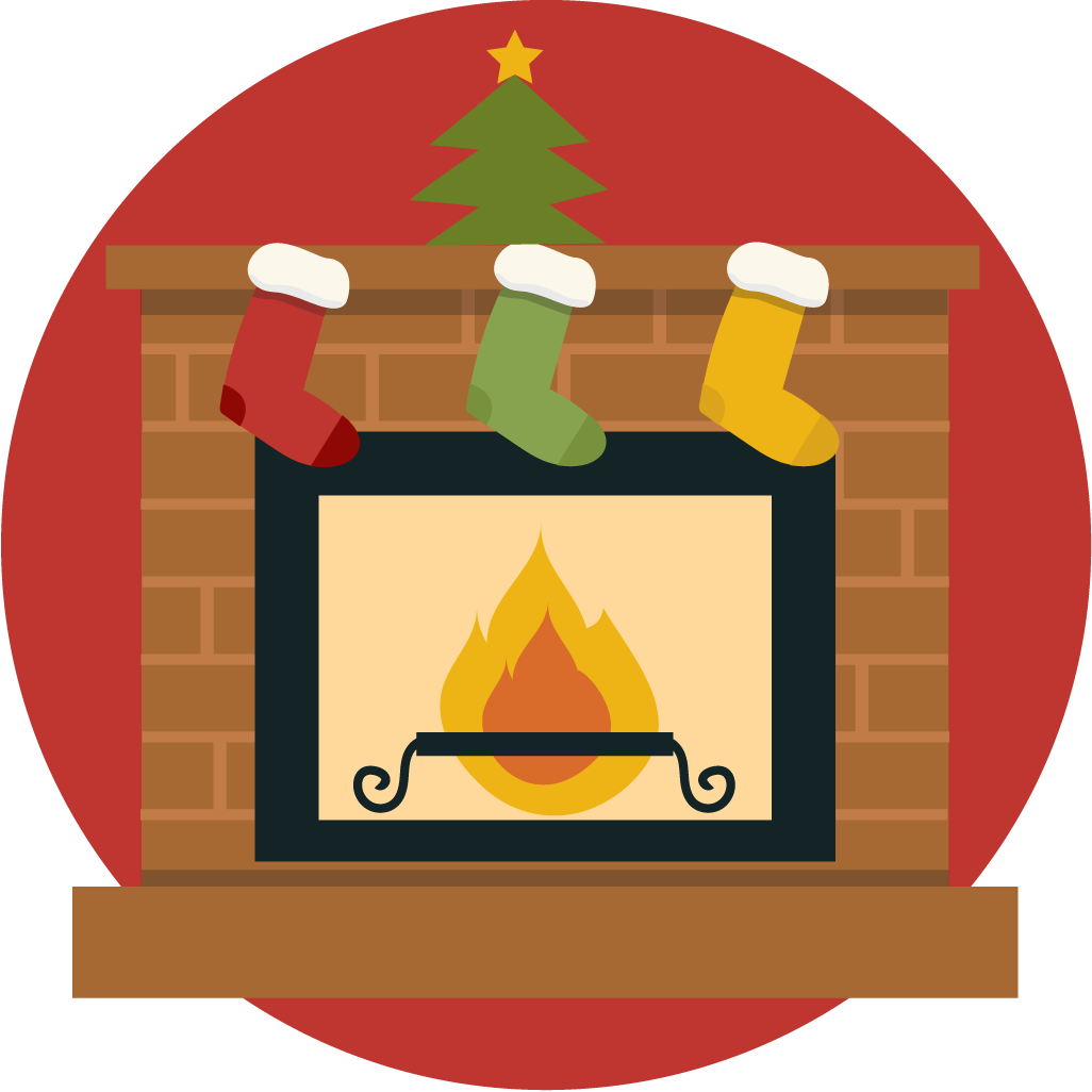 Christmas fireplace clipart.