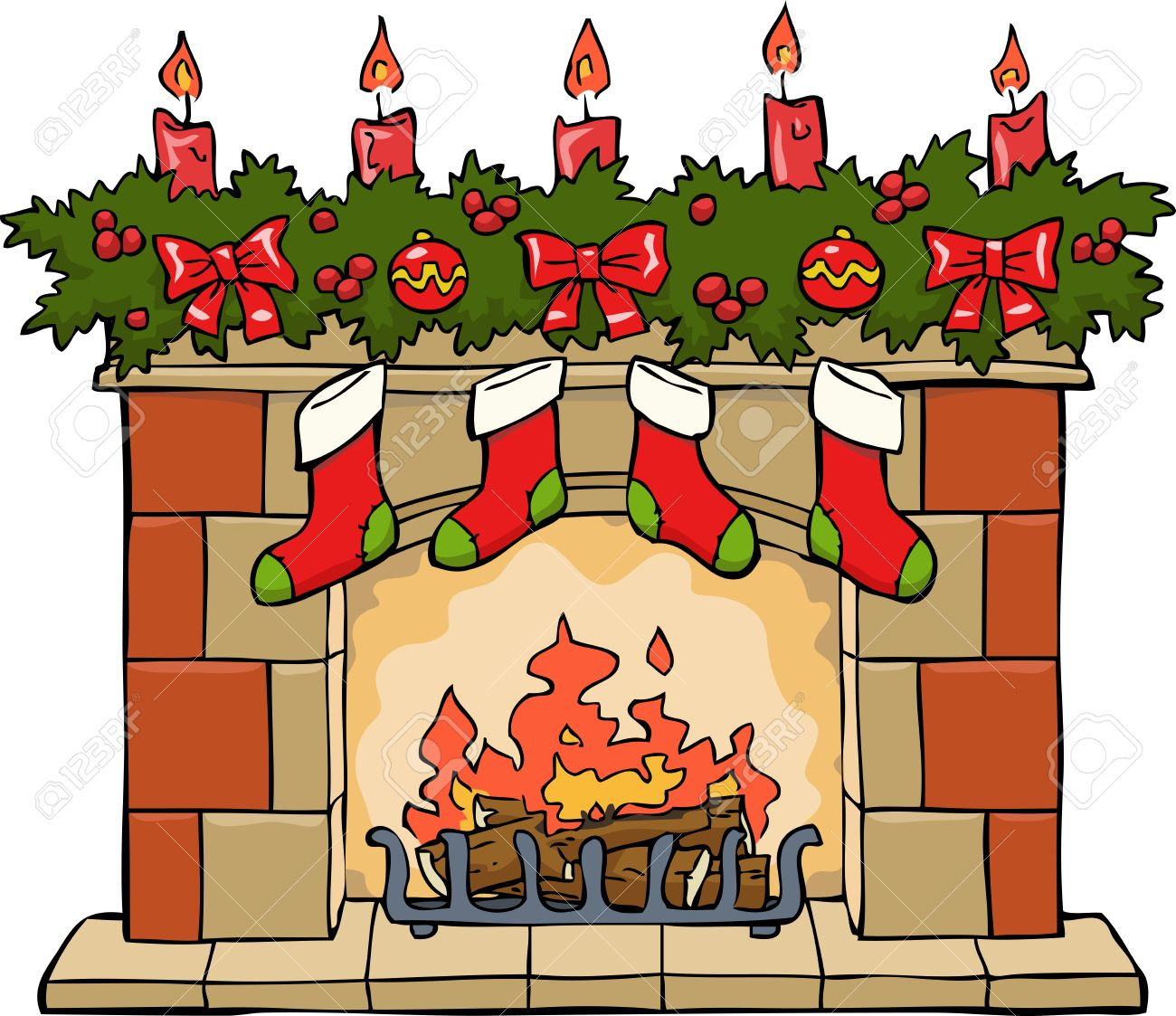 Christmas Fire Clipart.