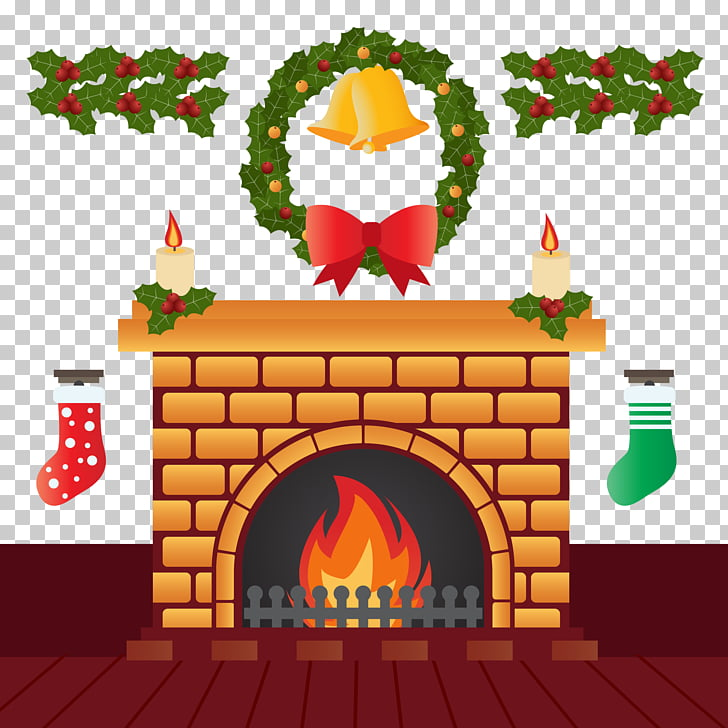 Furnace Christmas Fireplace Chimney Illustration, Christmas.