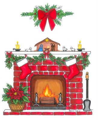 CHRISTMAS FIREPLACE CLIP ART.