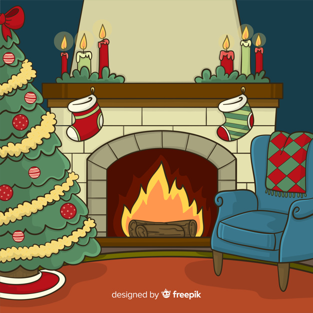 Fireplace scene background Vector.