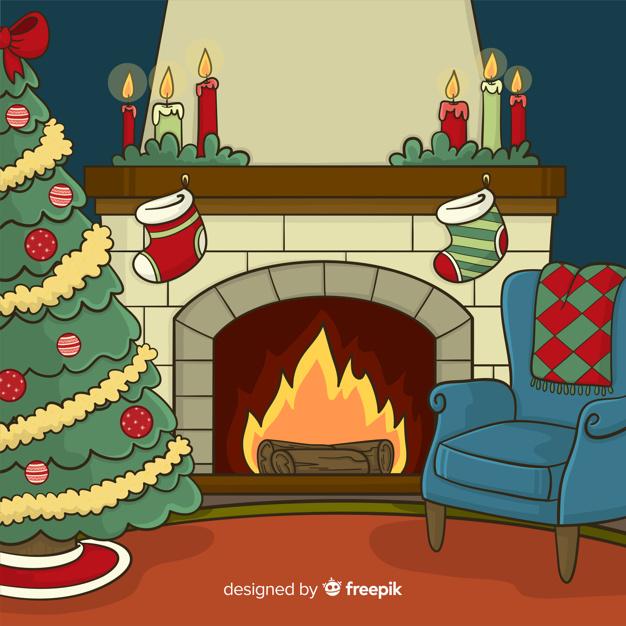 Fireplace scene background Vector.