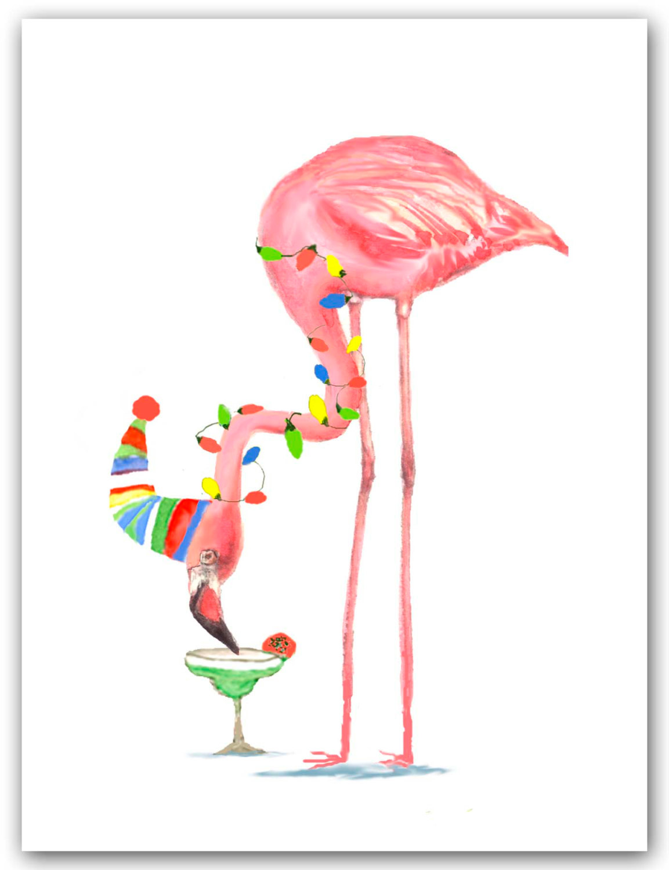 Christmas flamingo clip art.