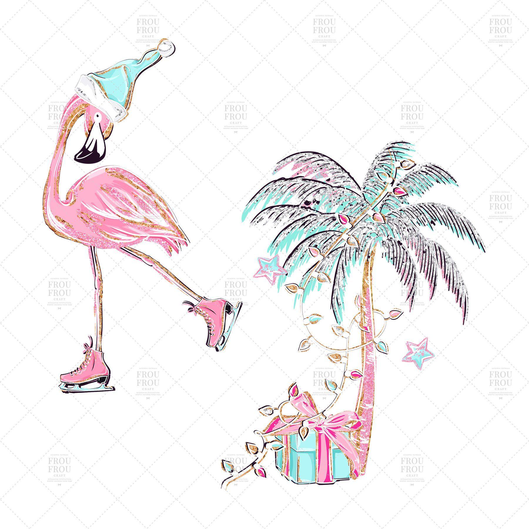 Christmas Flamingo Clipart , #SPONSORED, #individual.