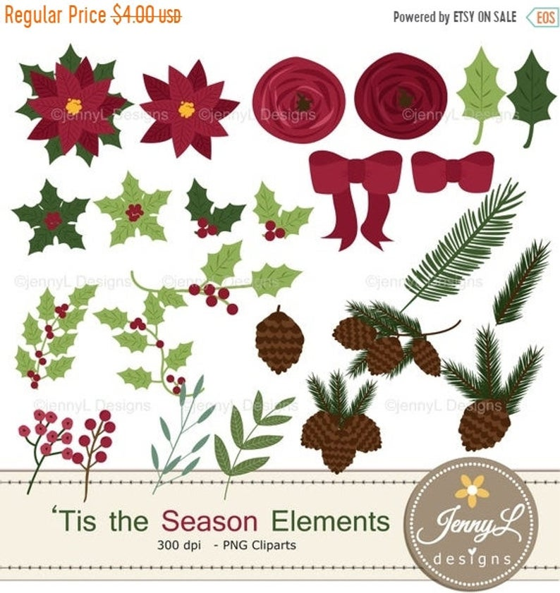 40% OFF Christmas Flower Clipart Elements, Poinsettia Flowers, Flowers,  Floral Arrangement for digital Scrapbooking, Wedding, Invitations, H.