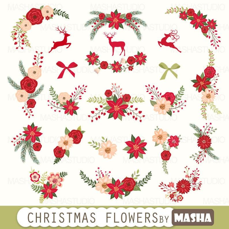 Christmas flowers clip art: