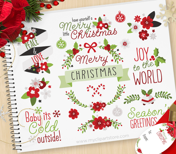 Christmas Flowers Clipart.