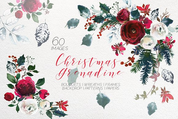 Christmas Watercolor Flowers Clipart.