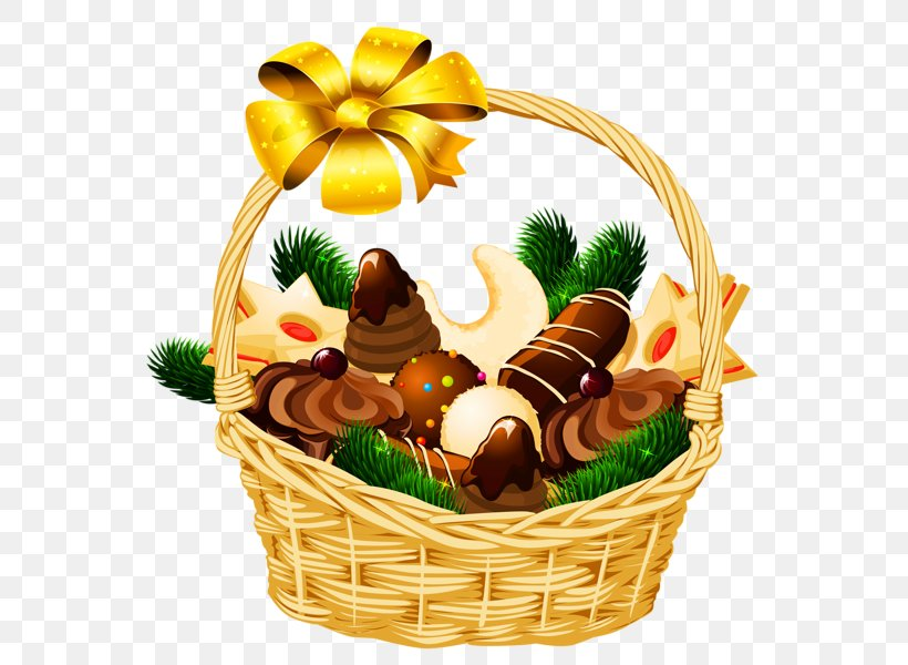 Christmas Food Gift Baskets Clip Art, PNG, 587x600px.
