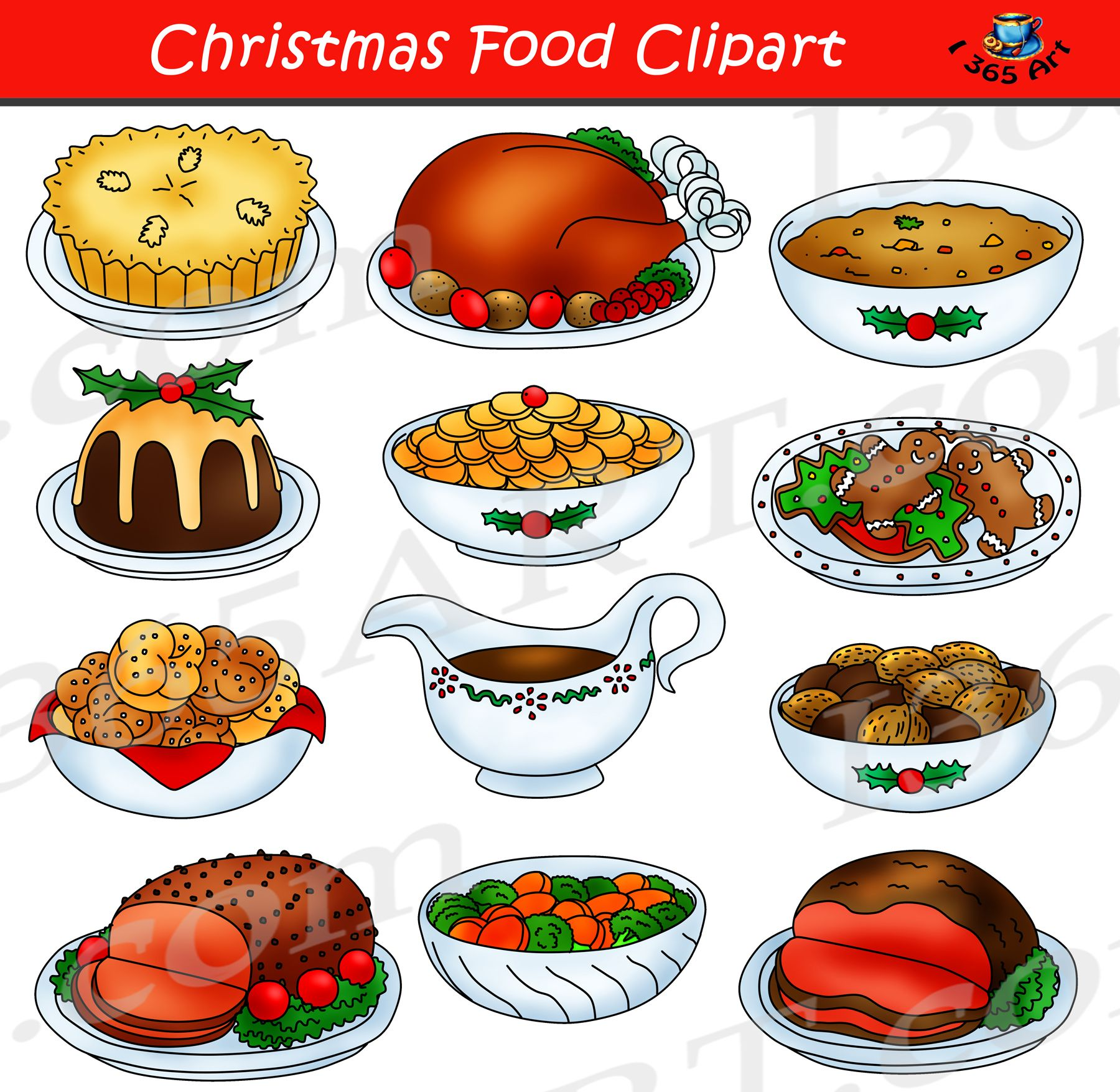 Christmas Food Clipart Graphic Set.