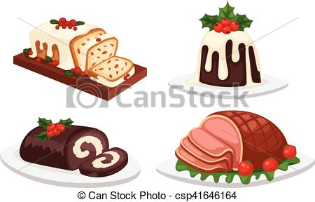 Christmas food vector set..