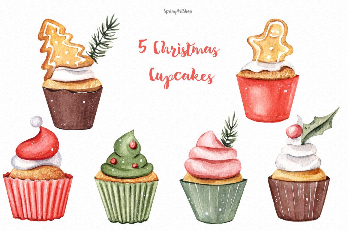 Christmas food watercolor clipart By SpringArtShop.