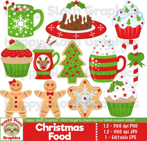 Christmas Food clipart set, personal and commercial use vector, Xmas Food  and drink digital clip art set..