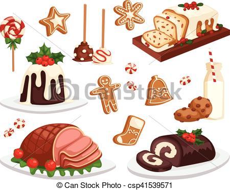 Christmas food vector set..