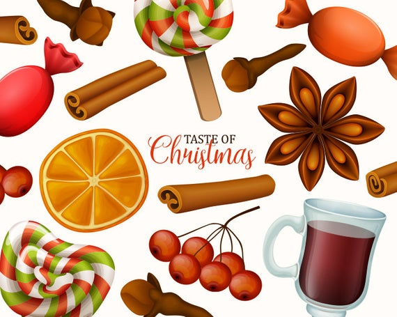 Christmas clip art. Christmas food and sweets clipart collection. Vector  graphic..