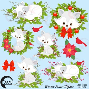 Christmas Fox Clipart, Cute Foxes Clipart, Baby Foxes, AMB.