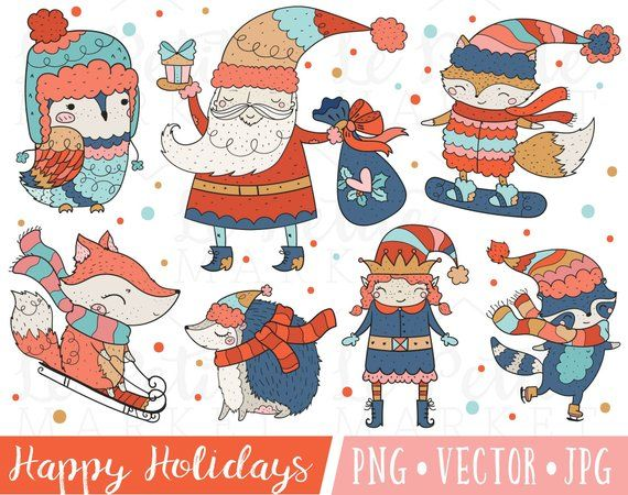 Cute Holiday Clipart Images, Cute Santa Clipart, Cute Elf.