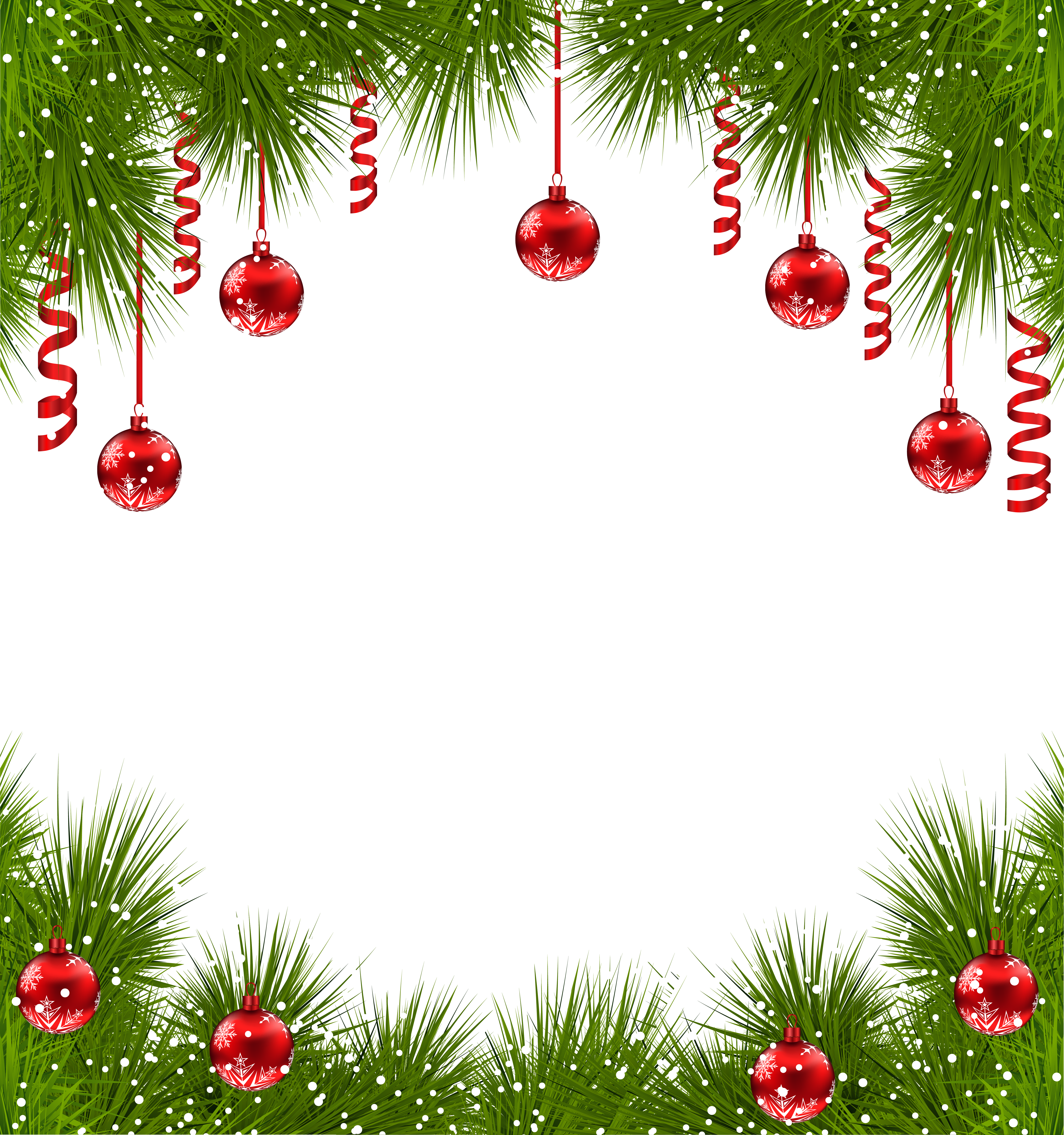Christmas Transparent PNG Frame with Red Ornaments.