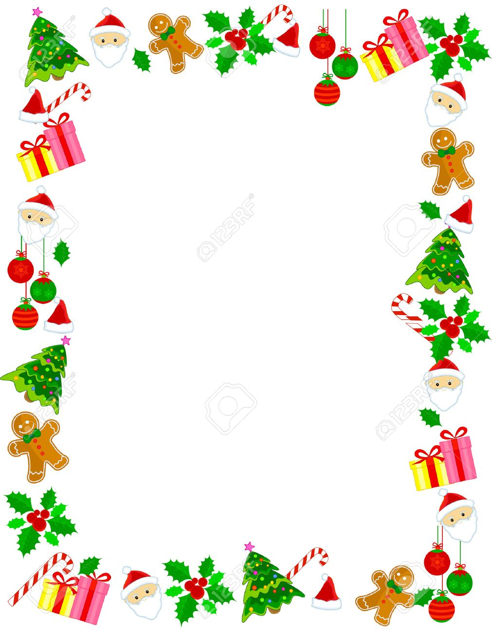 Colorful christmas frame / border with different clip arts.