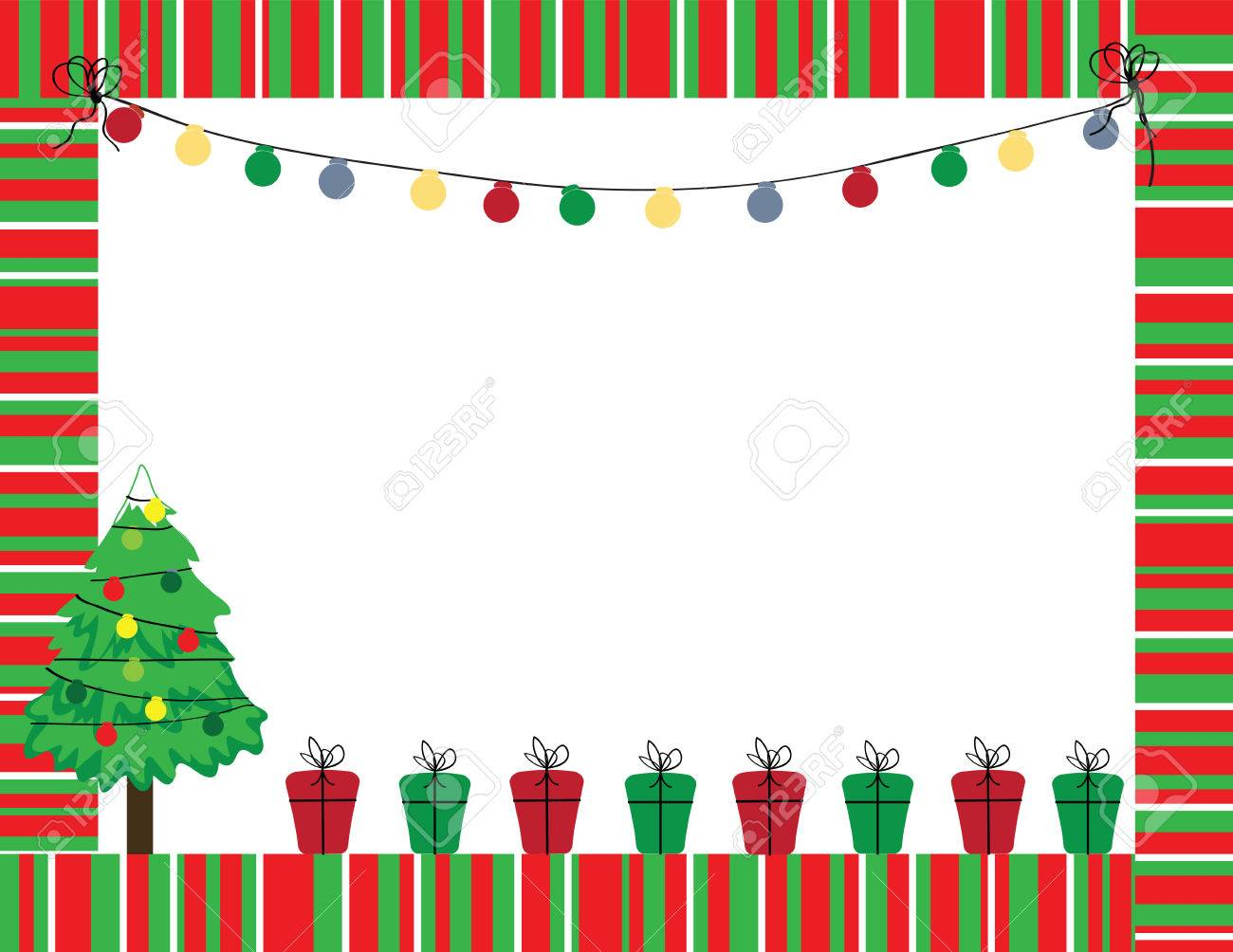 Cute Christmas frame in red and green color.
