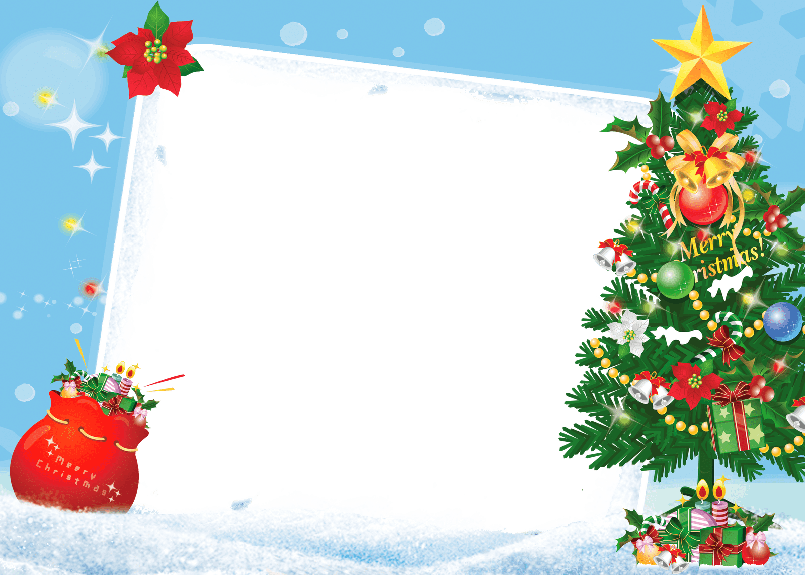 Merry Christmas Frame Tree Gifts transparent PNG.