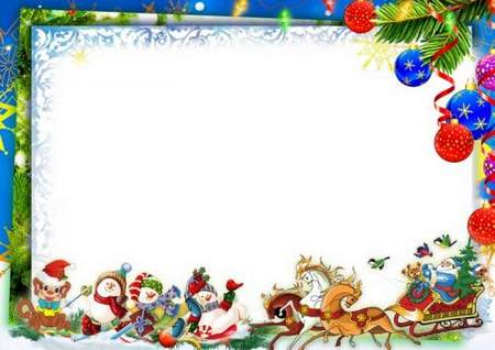 Christmas frame for a group photo in kindergarten (free frame psd.